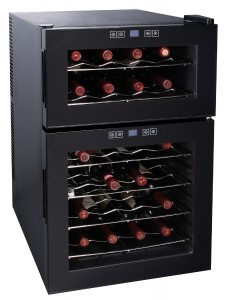 24 BOTTLE DUAL ZONE WINE COOLER W/ELECTRONIC TEMP. CONTROL